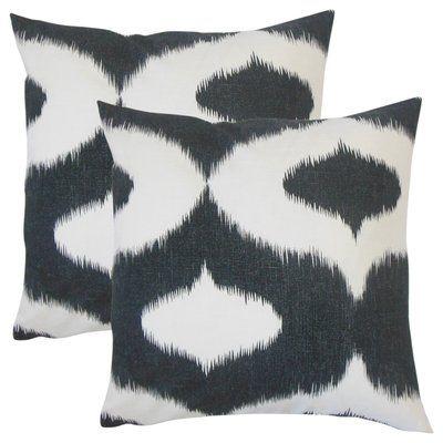 Brayden Studio Willowridge Ikat Cotton Throw Pillow Wayfair Throw Pillows Pillows Cotton Throws