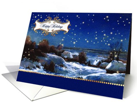 Happy Holidays Card for Customers Snow Scene Painting card
