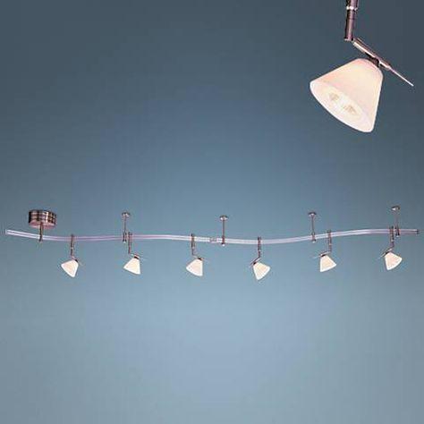 Etched Opal Gl 6 Light Expandable Rail Track Lighting Kit