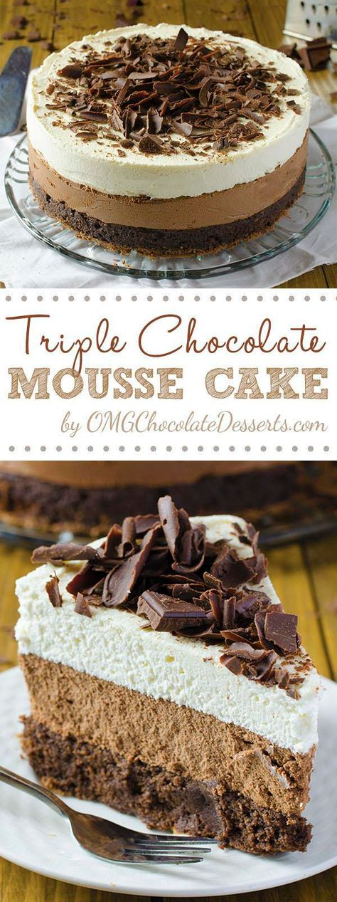 Triple Chocolate Mousse Cake is one of the most decadent chocolate cake recipes ever. If you love chocolate, you will love everything about this cake! Chocolate Mouse Cake, Triple Chocolate Mousse Cake, Amazing Chocolate Cake Recipe, Decadent Chocolate Cake, Best Chocolate Cake, Homemade Chocolate, Chocolate Desserts, Chocolate Mousse Recipe For Cakes, Coffee Mousse Cake Recipe