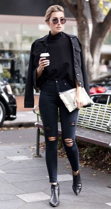 En NoirJeans Fashion Jean Veste NoirWomen's yvPw0NOm8n