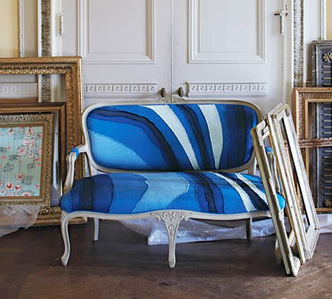 Unique Looking Blue Patterned Sofa