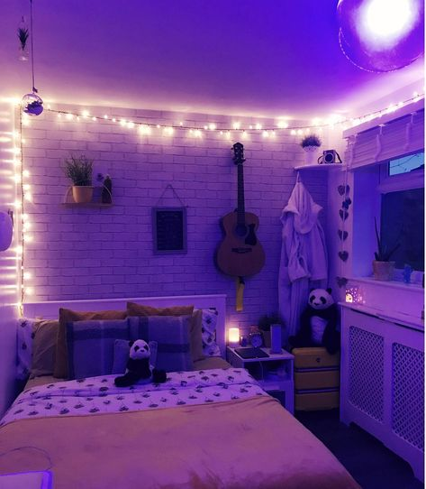 People seemed to like my room last time I shared it, so here it is in cosy night-mode! Cute Bedroom Ideas, Cute Room Decor, Room Ideas Bedroom, Small Room Bedroom, Bedroom Decor, Neon Bedroom, Purple Bedrooms, Chill Room, Cozy Room
