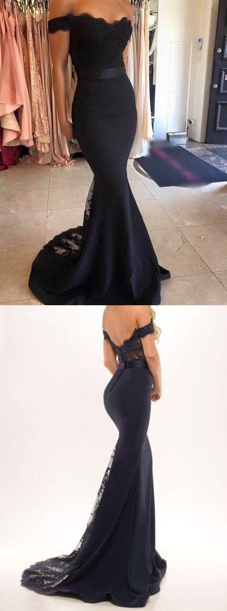 black off the shoulder mermaid long prom dress evening dress homecoming dress bridesmaid dress, long formal evening dress, party dress