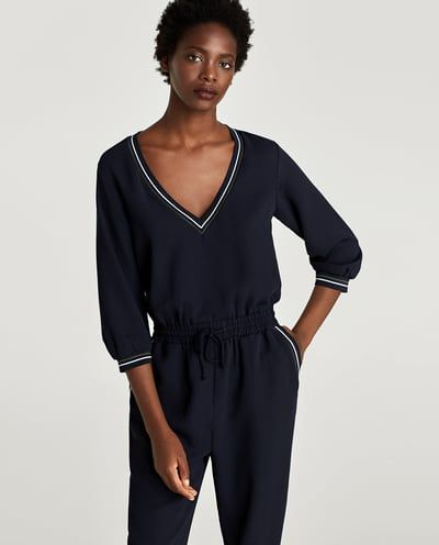 09a034acd6 CONTRASTING RIBBED JUMPSUIT-JUMPSUITS-WOMAN-SALE | ZARA Albania | a ...