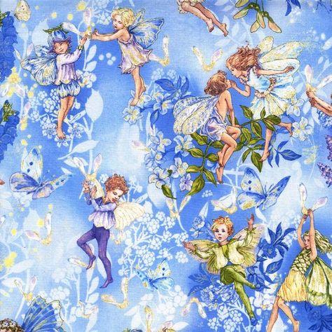 http://www.plushaddict.co.uk/michael-miller-flower-fairies-dawn-fairies-sky.html Michael Miller - Flower Fairies Dawn Fairies Sky - cotton fabric
