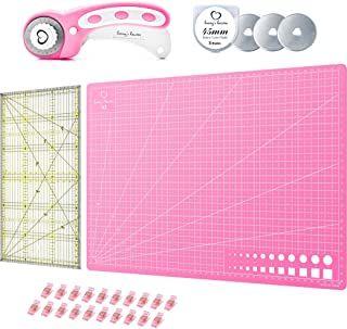 Patchwork-Lineal Rosa//Pink, Schneidematte im A3-Format Stoffklammern Ersatzklingen Honeys Heaven 45 mm Rollschneider Stoffschneider Set inkl Schneideunterlage