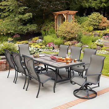 Campbell 9 Piece Sling Dining Set Patio Outdoor Dining Room