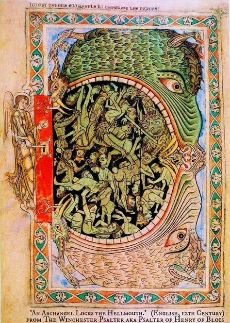 An archangel locks the mouth of hell, from the Winchester Psalter, English, 12th century.