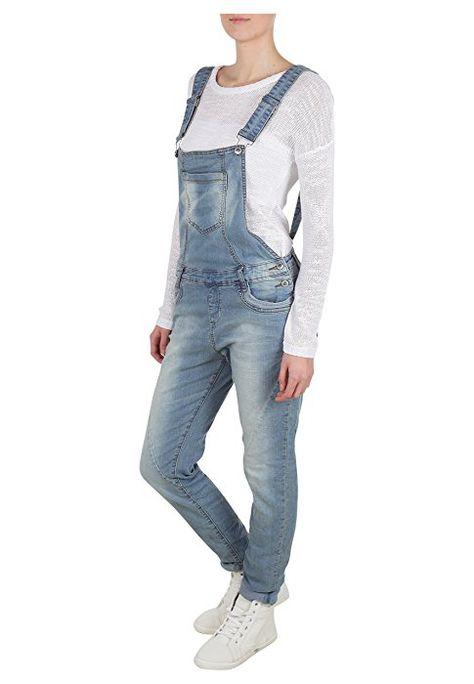 Fresh Made #Damen #Jeans Latzhose | Denim Boyfriend Cut im