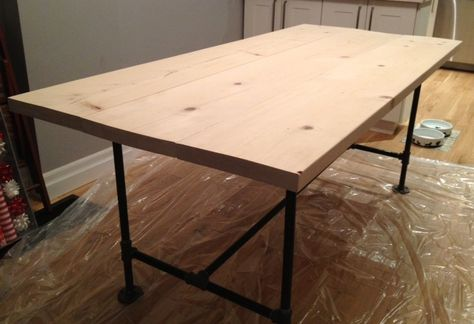 Creating a DIY Industrial Pipe Leg table with big box store basic materials, and almost no tools.