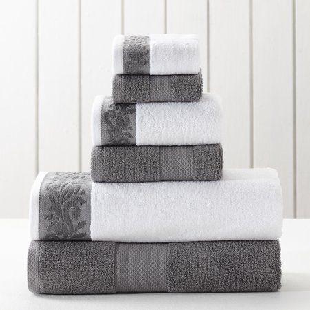 Allure 6 Piece Towel Set With Filgree Jacquard Border Charcoal Walmart Com Towel Set Bath Towels Bath Towel Sets