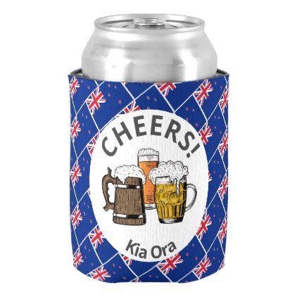 New Zealand Cartoon 3 Cheers Kia Ora Can Cooler Zazzle Com Beer Sleeve Cheer
