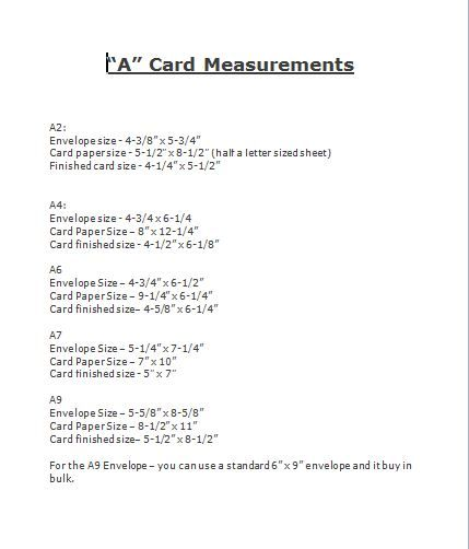Measurements For A Size Cards A2 A4 Card Making Techniques Card Layout Shaped Cards