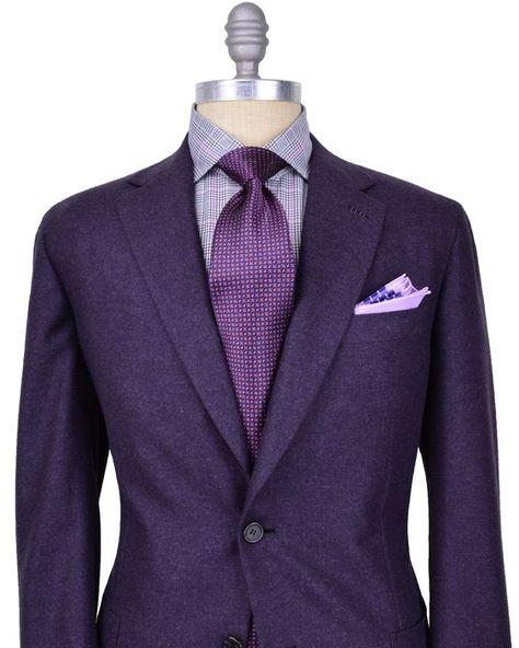Brioni men's purple suit, tie and shirt