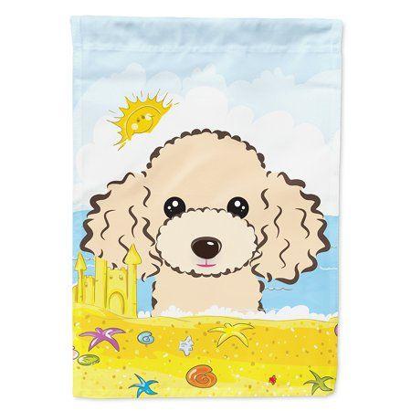 Buff Poodle Summer Beach Flag Canvas House Size Multicolor
