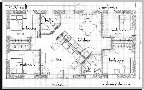 A Straw Bale House Plan Sq Ft Cob Houses Pinterest - 1250 sq ft house plans