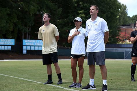 Ucf Head Coach Tiffany Roberts Sahaydak Center With Assistant Coaches Tim Sahaydak Right And Chris Cummings Lef Soccer Match Womens Soccer University Blue