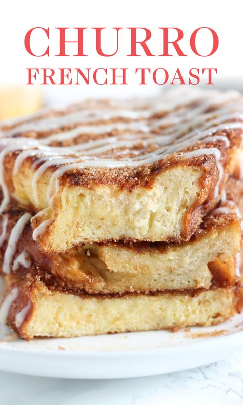 Churro French Toast is the best breakfast recipe EVER! Easy and delicious with thick slices of Challah and the best cinnamon flavor ever! #frenchtoast #frenchtoastrecipe #churro