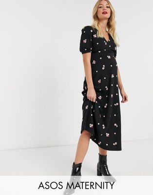 Asos Design Maternity Embroidered Midi Tea Dress In Black In 2020 Tea Dress Maternity Clothes Maxi Dress Prom