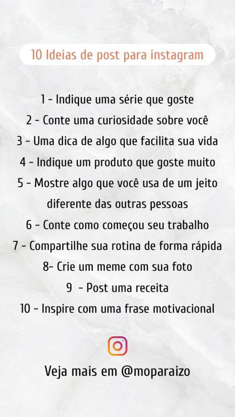 10 Ideias de post para instagram
