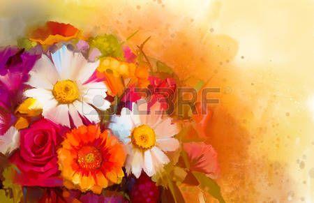 Bodegón De Flores De Color Amarillo Y Rojo Pintura Al óleo De Un Ramo De Rosas Margaritas Y Flores De Gerbera Estilo Impresionista Floral Pintado A Mano Flores De Colores Bodegon