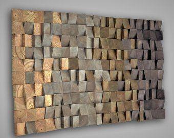 Modern Wood Wall Art Wooden Wall Mosaic 3d Wood By Liviawoodart