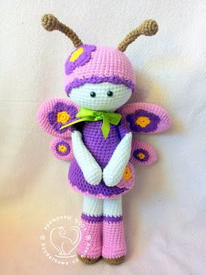Crochet key fob Butterfly Amigurumi handmade buy ... | 400x300