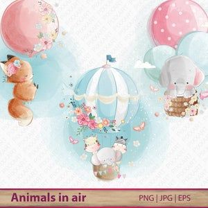 Hot Air Balloon Animals Clipart Set Cute Woodland Nursery Etsy Balloon Animals Hot Air Balloon Clipart Balloon Illustration