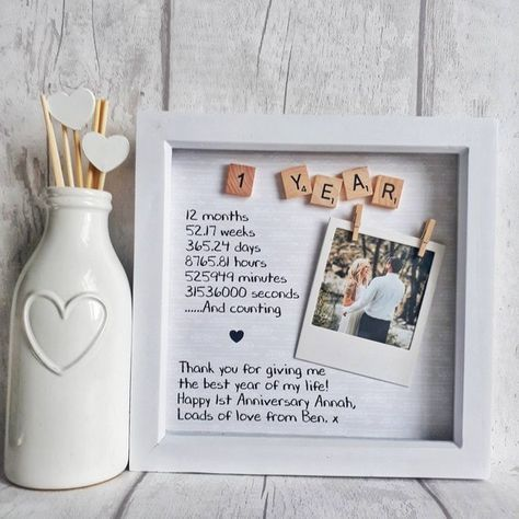 First Anniversary Frame | Anniversary Gift | Gift For Partner | One Year Anniversary | Ten Year Anniversary | Anniversary Gift For Wife All written parts can be completely personalised. This includes scrabble tiles. (max 10 across) add, names, quotes, dates, you name it, as long as