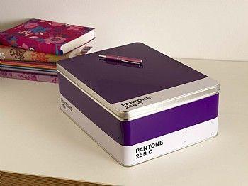 Pantone colour tin boxes.