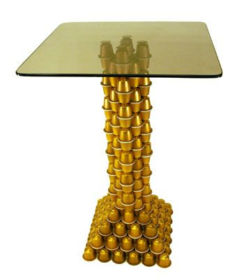 Nespresso Coffee Capsules Upcycled into Side Table