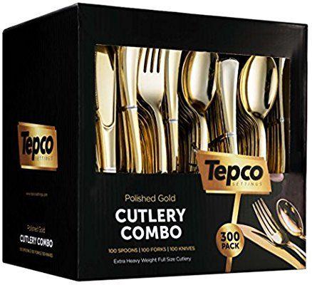 300 Pieces Gold Plastic Silverware Disposable Flatware Heavyweight Cutlery Inclu