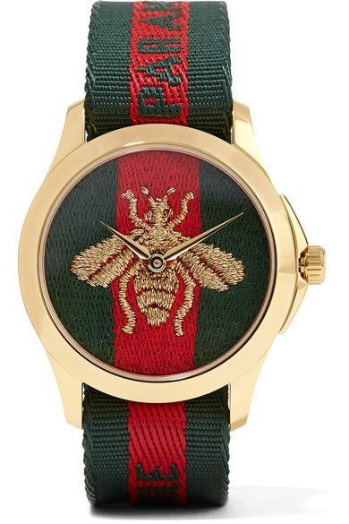 GUCCI classy Canvas and gold-tone watch   Gucci watch, Gucci, Watches for  men