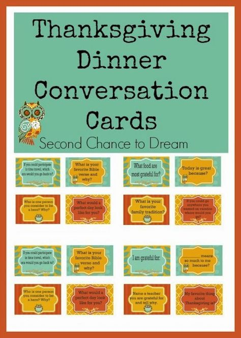 #DIY Thanksgiving Dinner Conversations Cards (free printable!)