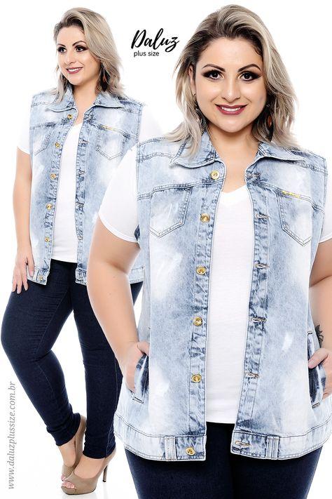 7c9ff9380 Maxi Colete Jeans - Coleção I Love Jeans Plus Size - daluzplussize.com.br