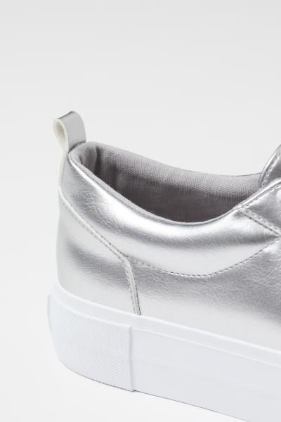 Platform Sneakers - Silver-colored