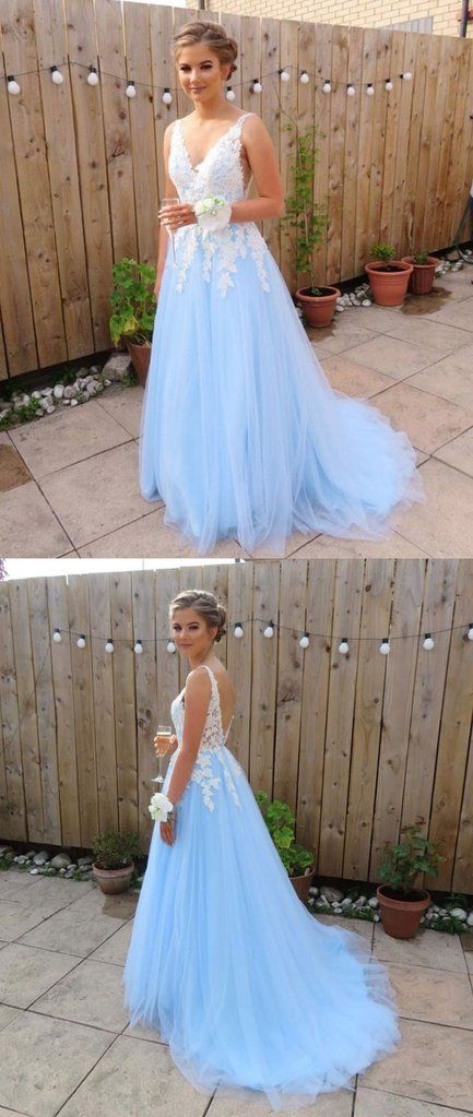 Blue v neck lace long prom dress, blue lace bridesmaid dress