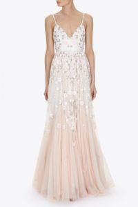 368f4bcabe78 Překrásné dlouhé světlé společenské tylové šaty celé zdobené ...