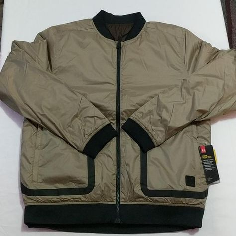 54bc22af60f8 Under Armour Sportstyle Coldgear Reactor Bomber Jacket 1306450-254 Brown NEW