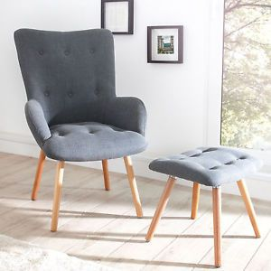 Design Sessel Scandinavia Grau Inkl Hocker Retro Look Stuhl