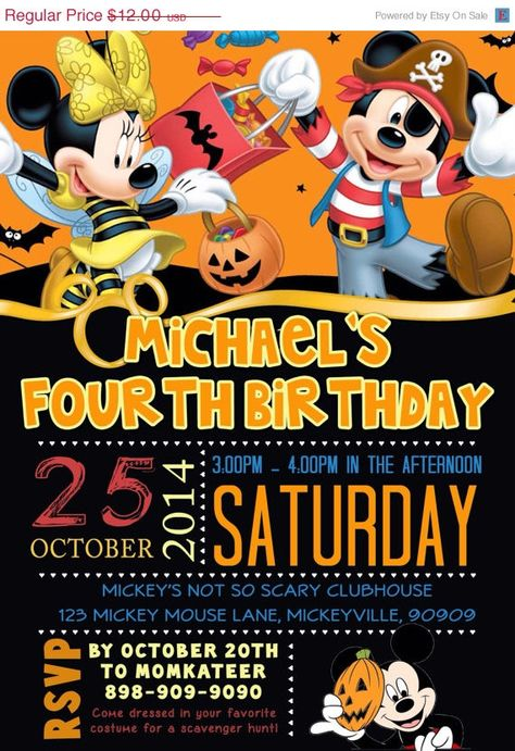 Mickey Mouse Halloween Invitation by Asapinvites on Etsy