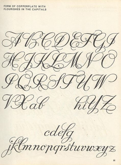 vintage script alphabet ~ Script Lettering (1957), M. Meijer ~ form of copperplate with flourishes in the capitals