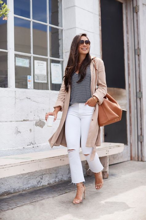 With Love From Kat // Monday Coffee Date. Black and white striped tee+whtie distressed jeans+nude ankle strap heeled sandals+camel trenchcoat+cognac sholder bag+sunglasses+gold necklace.