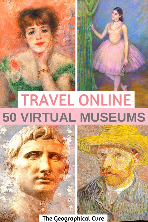If you need some online cultural inspiration, this guide's for you. I take you to 23 world class museums that boast excellent online collections and virtual tours. You can admire masterpieces in high resolution right on your computer or phone. 360 Virtual Tour, Virtual Travel, Virtual Art, Museum Of Fine Arts, Museum Of Modern Art, Rodin Museum, Virtual Field Trips, Virtual Museum, Destinations