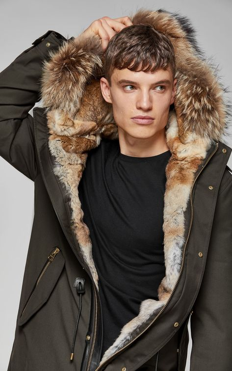 SETH hip length twill parka with hood and natural fur,Army
