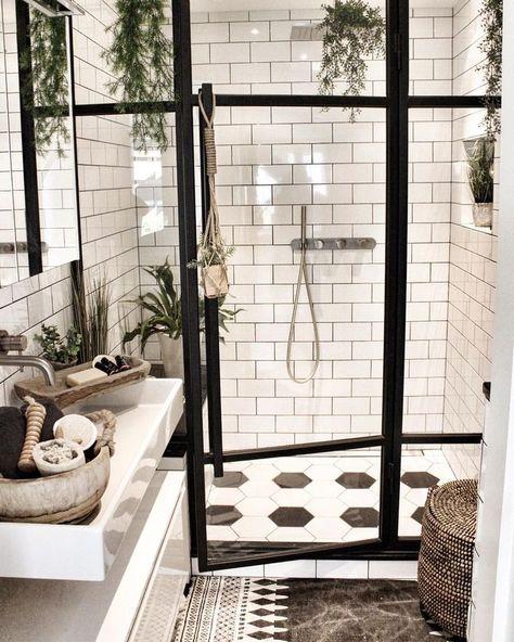 white subway tile bathroom #home #style