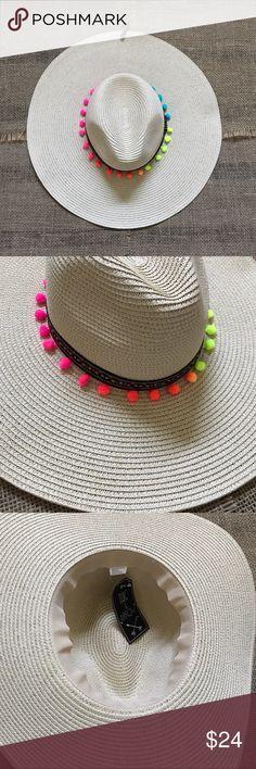 Boho Chic Beach Festival Sun Hat Fun Neon Pom-Pom trim! OSFM ❌ I 4c6a304e98b