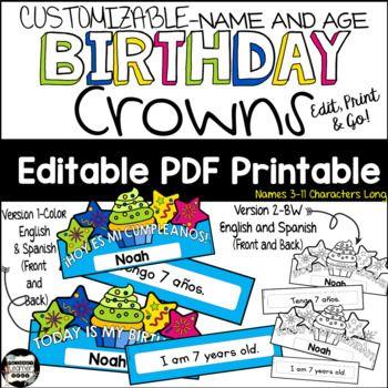 Happy Birthday Headband Crowns Printable Spanish And English