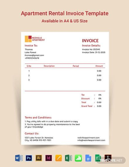 Apartment Rental Invoice Template Pdf Word Doc Excel Psd Indesign Apple Mac Pages Google Docs Google Sheets Illustrator Apple Mac Numb Invoice Design Template Invoice Template Templates